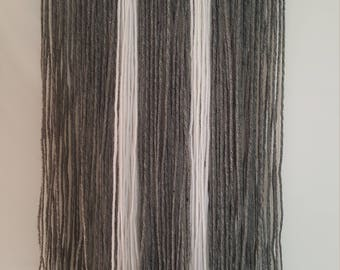 Yarn Wall Hanging-Wall Decor-Wall Hanging-tapestry- Grey and White