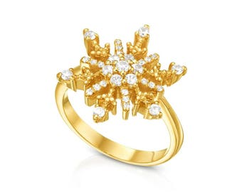 Val D'Isere Unique Anniversary Ring, 14k Gold,Vermeil, Lab Grown Sapphires