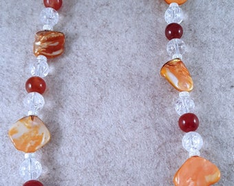 Precious stone chain Bergkristiall, mother-of-Pearl and carnelian - 925 Silver