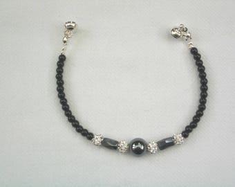 Hematite & Black Onyx Bracelet 7inch.-Hematite Bracelet-Onyx Bracelet-Gift-Gift For Her-Bracelet