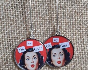 Dangling earrings, retro resin trays