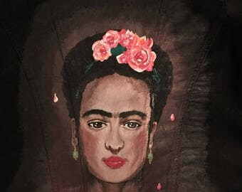 Frida Kahlo Hand-Painted Denim Jacket: **Made to Order**
