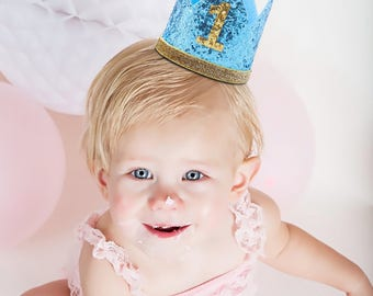 Blue, Gold Glitter 1st, 2nd, 3rd Birthday, Cake Smash Photoshoot Boys Crown, Prop, Tiara, Party Hat, Decor, Childrens Gift