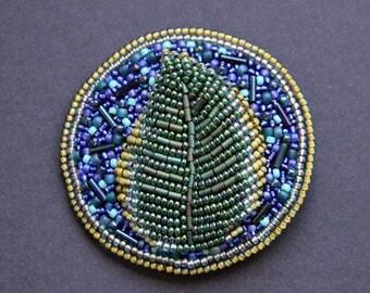 "Brooch made of beads ""Leaf"""