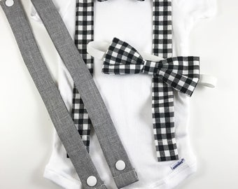 Onesie with Changeable Suspenders, and Daddy and me Bow Tie