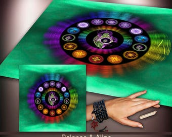 Crystal Grid Cloth - Balance and Align the Chakras - Crystal Meditation Energy Grid