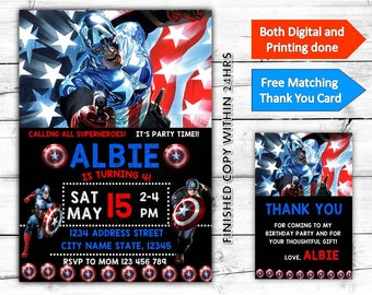 Captain America Marvel Birthday Printable Invitation Plus Free Thank You Card-Both Digital and Printing done