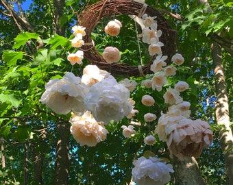 Flower Mobile, Nursery Decoration, Chandelier, Wedding Decoration, Home Decoration, Baby Shower, Rustic, Girl, Ivory, Burlap