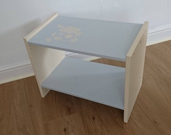 Upcycled wooden side table or bedside table, in silver and cream