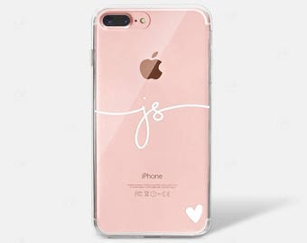 Custom Monogram Name Initial with Heart iPhone X Case iPhone 6 iPhone 7 iPhone 7 PLUS iPhone 6 PLUS iPhone 8 Samsung Galaxy S7 S8 Edge Clear