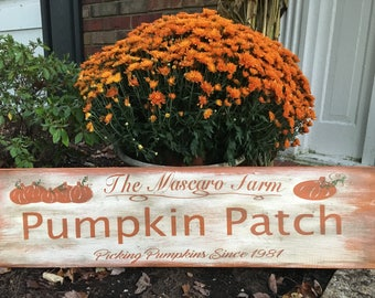 Pumpkin Patch Sign, Custom Sign, Fall Sign, last name sign, Personalized sign, Fall Decor, Pumpkin Decor, last name custom sign,