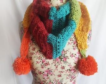 Rainbow Sprinkles Crochet Scarf