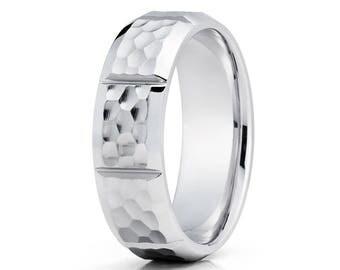 Hammered Gold Wedding Band 14k White Gold Wedding Ring Anniversary Ring Men & Women Men's Gold Wedding Band