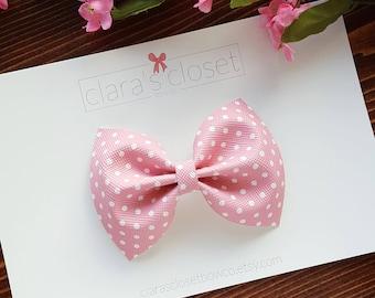 Pink Polka Dot Bow, Pink Baby Bow, Polka Dot Baby Bow, Pink Bow,  Baby Headband, Hair Bows, Newborn Bows, Baby Hair Bows, Baby Headband Bows
