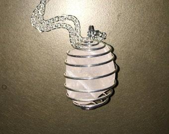 Handmade Silver Rose Quartz Long Pendant Necklace