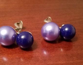 Vintage Blue Clip On Earrings