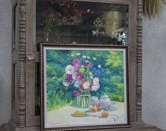 Oil Painting, Still life Flowers, Wild flowers, Still life painting, Flowers in vase, Painting flowers, Wild flowers, Oil painting floral