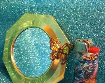 Tiny Vintage Brass Octagon Butterfly Mirror, Circa 1970's