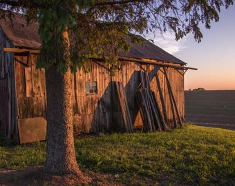 Red Barn at Sunset - Rustic, Barn, Farm, Sunset, Field - Photographic Print