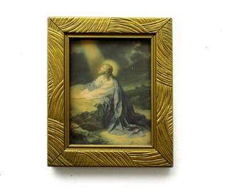 Vintage Framed Christ at Gethsemane Litho Print, Antique Jesus Praying on Rock Framed Art,1940s Gethsemane Agony in the Garden Litho Print
