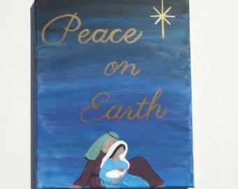 Hand-painted Nativity, Holy Family, Peace on Earth