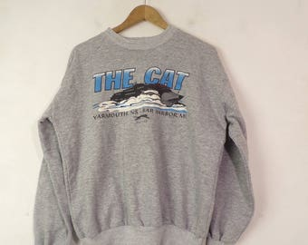 90s The Cat Ferry Boat Sweatshirt Size Medium, Graphic Sweatshirt, Crew Neck Sweatshirt, The Cat, Ferry Boat, Yarmouth NS,Bar Harbor ME,Boat