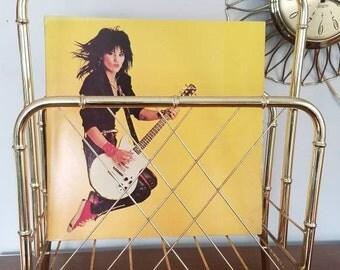 Mid Century Magazine Rack, Brass Bamboo, Atomic, Vinyl Rack