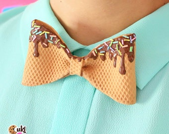 Waffly BOW TIE with chocolate topping and rainbow sprinkles - waffle bow tie, chocolate, topping, chocolate topping, chocolate bow tie
