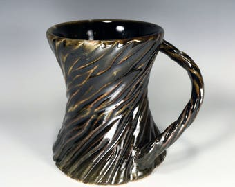 Dark Mug / Carved Mug / Textured Mug / Unique Mug / Handmade Mug / Wheel Thrown Mug / Pottery Mug