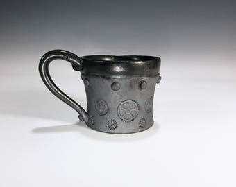 Industrial Mug / Steampunk Mug / Gear Mug / Ceramic Mug / Wheel Thrown Mug / Stoneware Mug / Handmade Mug / Pottery Gift for Men