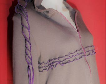 "Vest-dress ""Luna"" - grey / purple (L)"