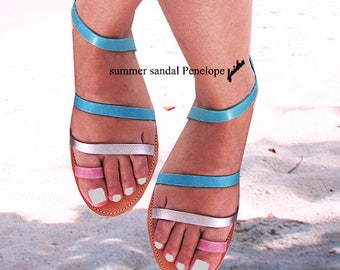 Sandals Womens,Womens Sandals , Handmade Leather Sandals,Greek Sandals,Ladies Sandals,Pink Sandals, Flip Flops, Color Leather, NEFELI