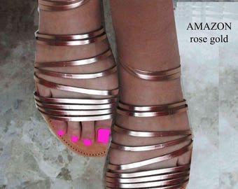 Sandals Women's,Women's Sandals,Ροζ χρυσά δερμάτινα σανδάλια,,Καλοκαιρινά σανδάλια,Greek Sandals,Gladiators Sandals,Strappy Sandals,AMAZON