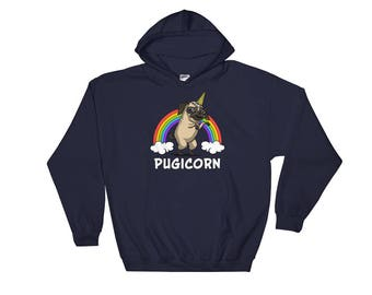 Pugicorn Sweatshirt - Pug Hoodie - Unicorn Pug - Frenchie Hoodie - Pug Sweatshirt - Pug Dog Hoodie - Pug Lover - Pug Gifts - Pug Clothes