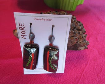 Black metal, green and red glass earrings