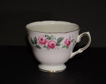 COLCLOUGH, Bone China, Footed, Teacup only, orphan teacup, pink roses, Gold Rimmed, England, 8239, Vintage, Rigway Potteries, pink teacup