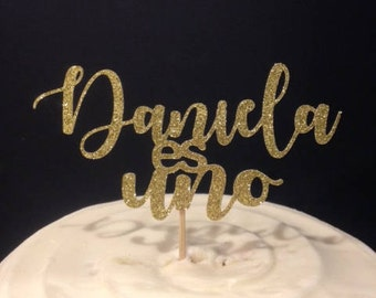 Uno / One / First Birthday Cake Topper With or Without Name in Sparkling Glitter!