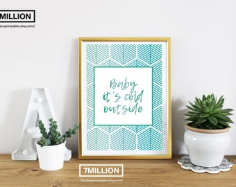 Baby it's cold outside: Geometric Printable Christmas Poster, Christmas Printable, Winter Poster, Modern Christmas Wall Art, Christmas Print