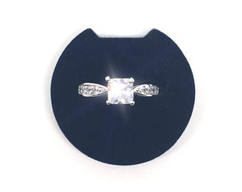 Cubic Zirconia Silver Metal Ring Size L - Vintage - Engagement or Wedding Ring - Ring for Women
