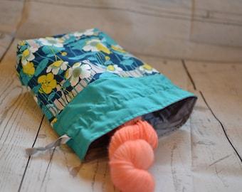 Knitting project bag, reversible lined drawstring bag