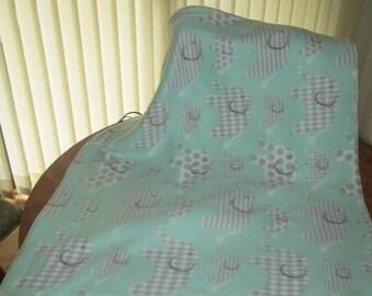 Fleece Baby Blanket mint green with gray elephants