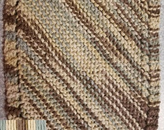 Handmade Knitted Dishcloth - Free USA Shipping - Earth Ombre
