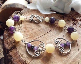 Bracelet en améthyste et en jade jaune (jade Néphrite) et hématites par AngelS SignS
