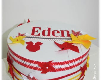 """TO order - urn of baptism """"Windmills"""" theme in yellow and Red"""