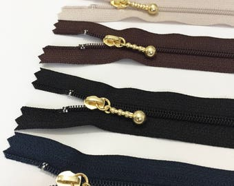 Set of 5 - YKK 20cm Closed End Zipper with Gold metal pull - Made in Japan