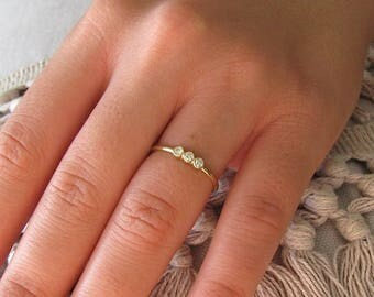 3 Diamond Ring 14k Solid Gold Engagement Ring, Wedding Ring, Promise Ring, Three Diamond Ring, Triple Stone Ring with Round Diamonds