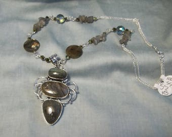 Sterling Silver Iolite Pendant and Hand chain Necklace
