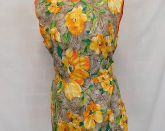 Vintage orange floral tabard housekeeper's pinny apron coverall overall unworn unbranded 50's 60's 70's