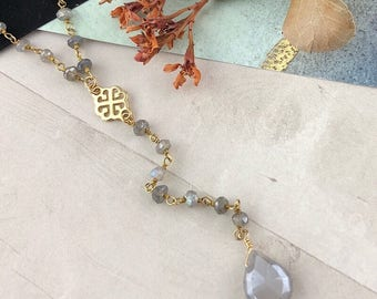 Moonstone Lariat Y Necklace with Labradorite Rosary, Fall Wedding, Perfect for Boho Bridal Jewelry, Boutique Style Jewelry, Artisan Handmade