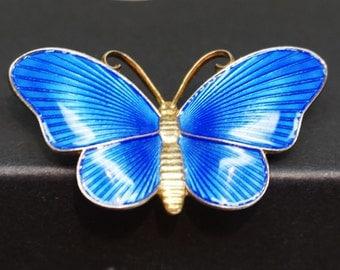 """Vintage IVAR HOLTH BUTTERFLY, Blue """"Guilloche"""" enamel Butterfly"""